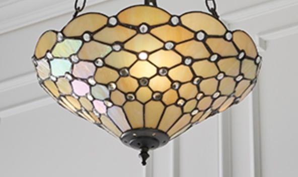 Lampadario Tiffany Giallo Dorato Invertito