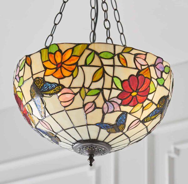 lampadario tiffany con farfalle