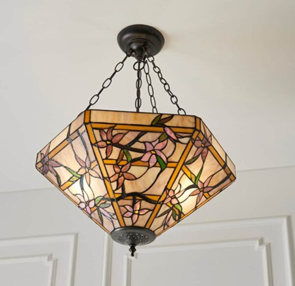 lampadario tiffany esagonale
