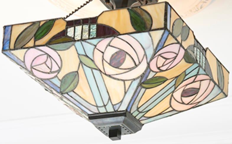 Lampadario Tiffany Quadrato Invertito lume