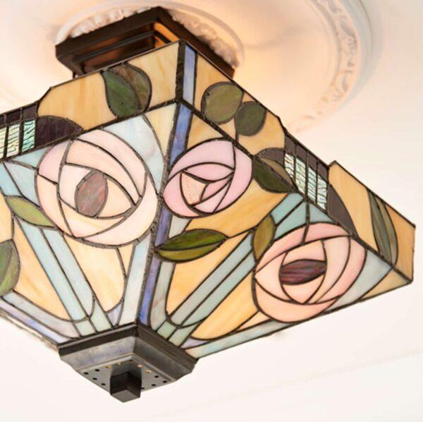 lampadario tiffany quadrato invertito