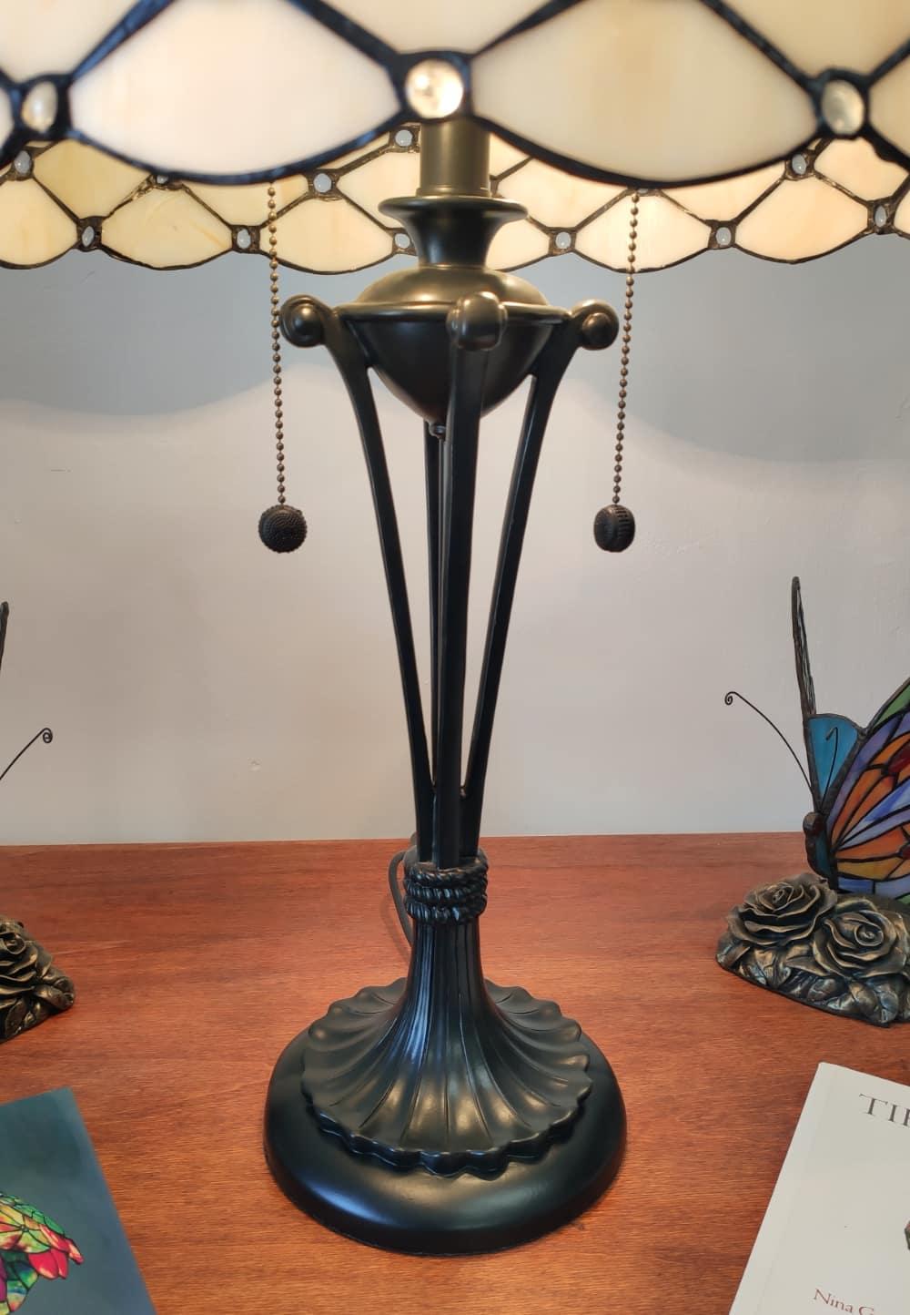 Lampada da Tavolo Tiffany Gialla Dorata Moderna base