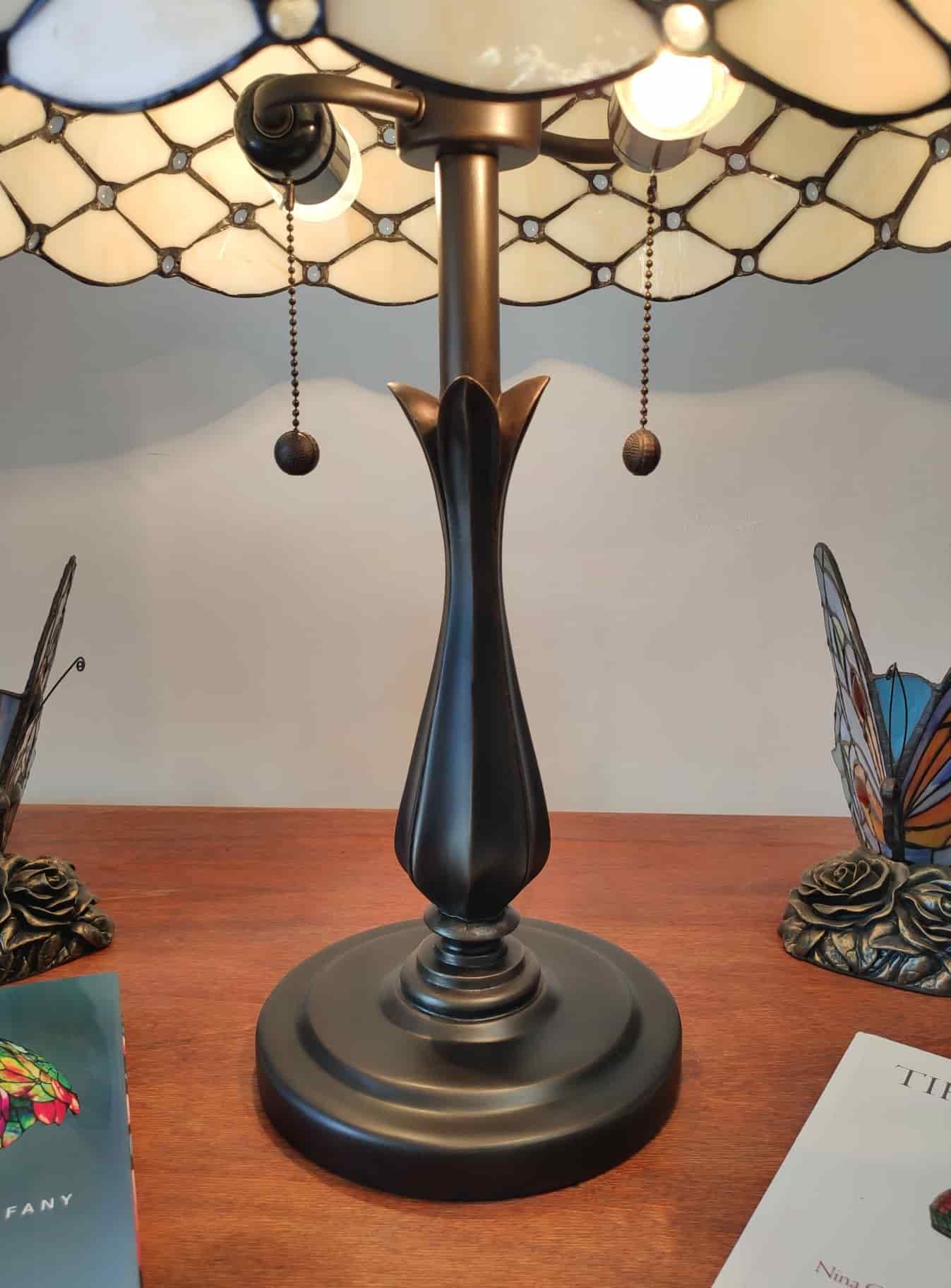 base di appoggio Lampada da Tavolo Tiffany Gialla Dorata Vintage