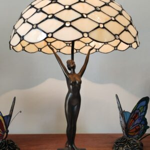 Lampada da Tavolo Tiffany Gialla Dorata con Statua