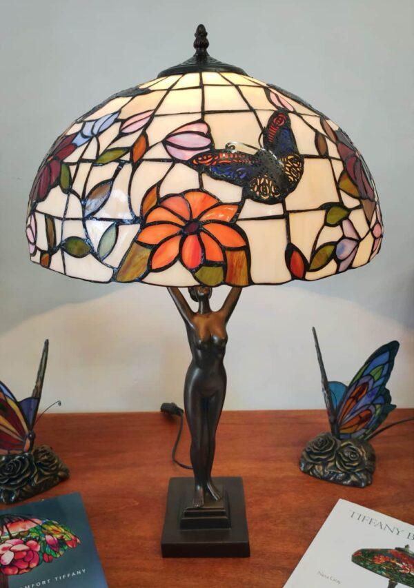 Lampada da Tavolo Tiffany Statua con Fiori e Farfalle