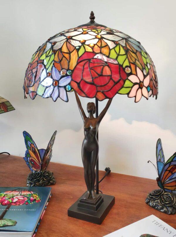 Lampada da Tavolo Tiffany Statua con Fiori